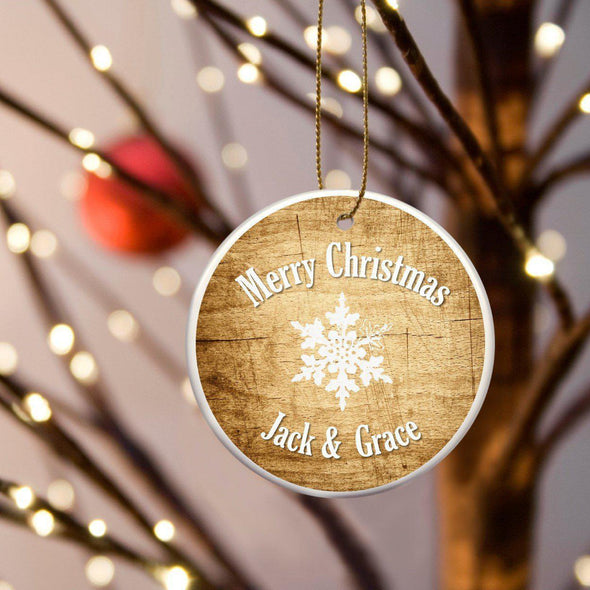 Personalized Multiwood Christmas Ceramic Ornament - Pine - JDS
