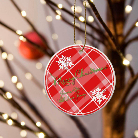 Personalized Multiwood Christmas Ceramic Ornament - RedPlaid - JDS