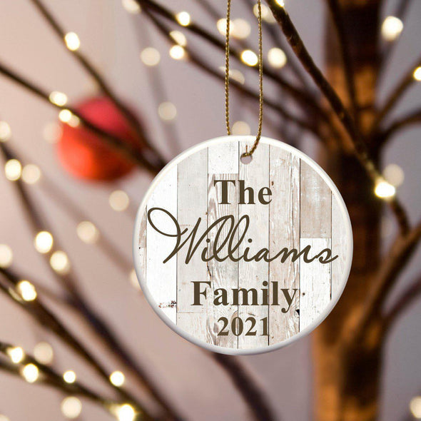 Personalized Family Name Ceramic Ornament - White - JDS