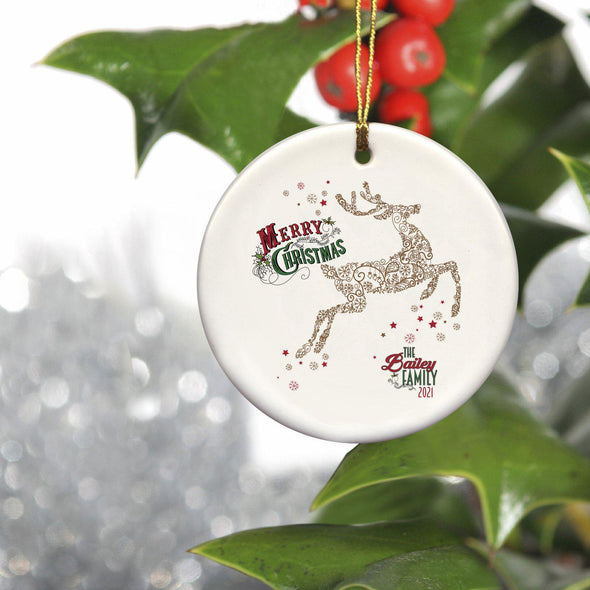 Personalized Vintage Reindeer Ornament -  - JDS