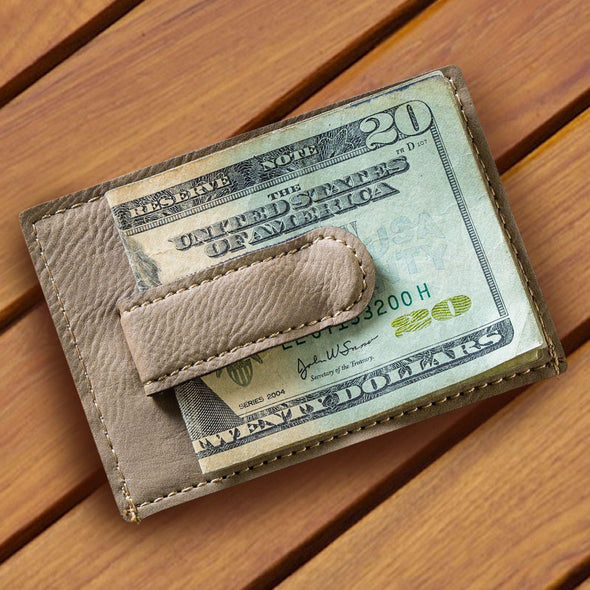 Personalized Tan Money Clip & Wallet -  - JDS