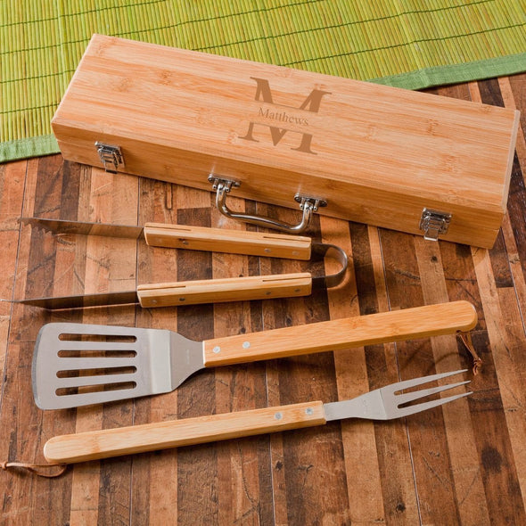 Personalized Grill Set - BBQ Set - Bamboo Case - 6 Designs - Stamped - JDS