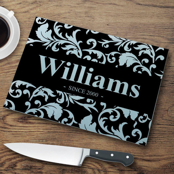 Personalized Glass Cutting Board - Floral - JDS