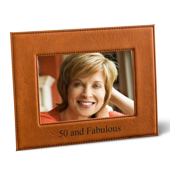 "Personalized Black 5x7 Vegan Leather Frame - 5 ""x 7"" Personalized Picture Frame - All - Rawhide - JDS"