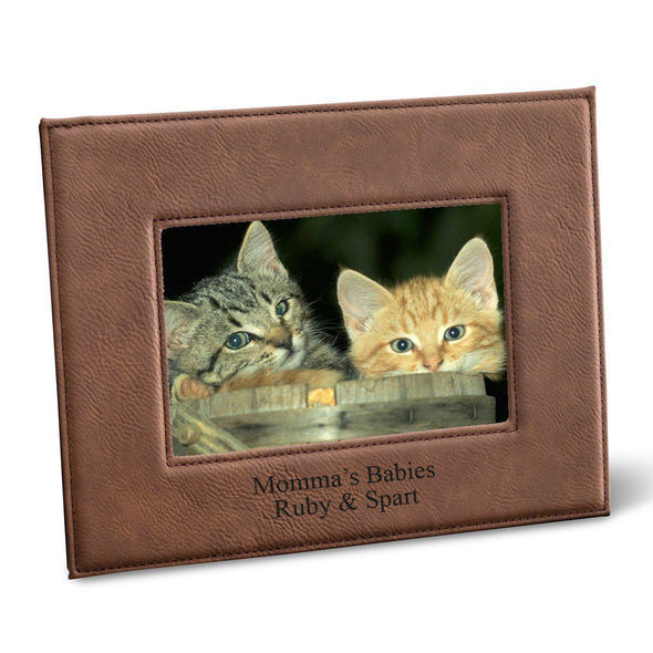 "Personalized Black 5x7 Vegan Leather Frame - 5 ""x 7"" Personalized Picture Frame - All - DarkBrown - JDS"