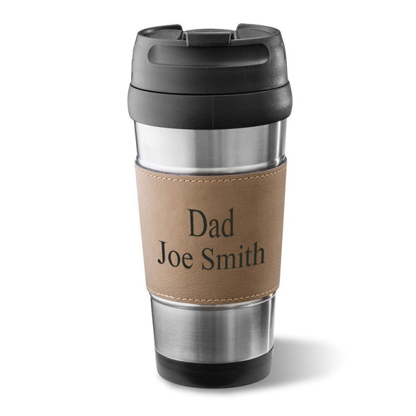 Personalized Vegan Leather Wrapped Tumbler - Stainless Steel - 14 oz. - Rawhide - JDS