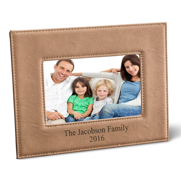"Personalized Black 5x7 Vegan Leather Frame - 5 ""x 7"" Personalized Picture Frame - All - Tan - JDS"