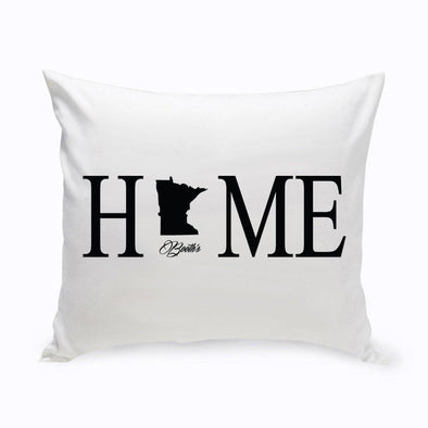Personalized Home State Throw Pillow - Black - JDS