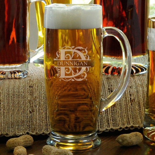 Personalized Slim Beer Mug - Filigree - JDS