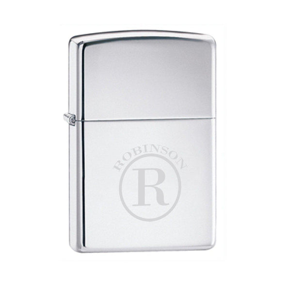 Custom Zippo High Polish Chrome Lighter - Circle - Zippo