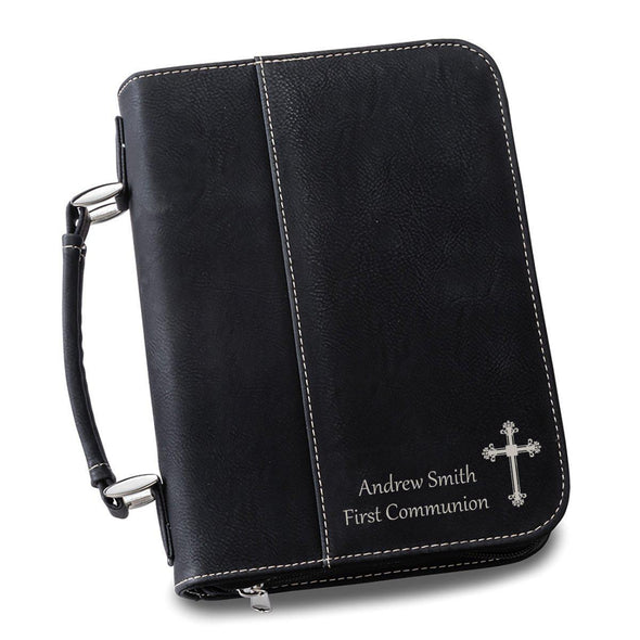 Personalized Leather Bible Cover - 6 Colors - Black - JDS