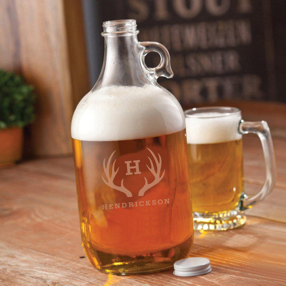 Personalized Glass Beer Growler - 64 oz. - 5 Designs - Antlers - JDS