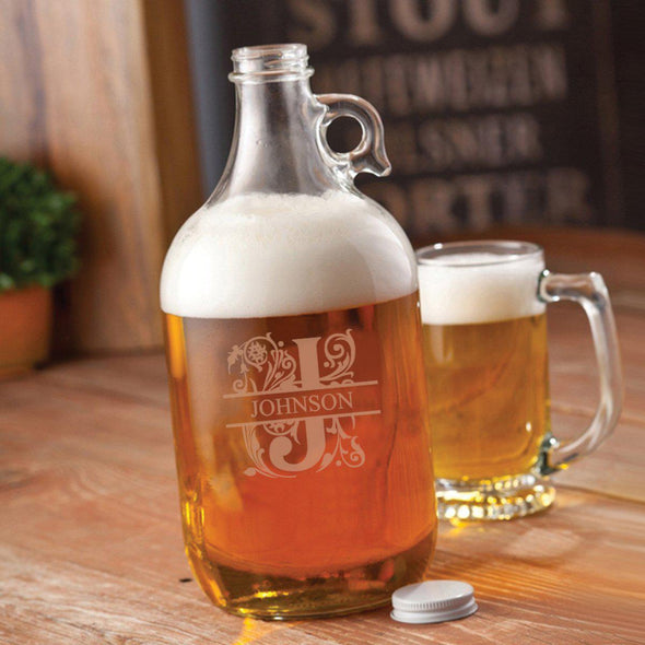 Personalized Glass Beer Growler - 64 oz. - 5 Designs - Filigree - JDS