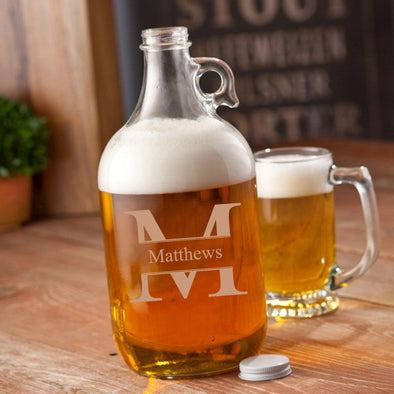 Personalized Glass Beer Growler - 64 oz. - 5 Designs - Stamped - JDS