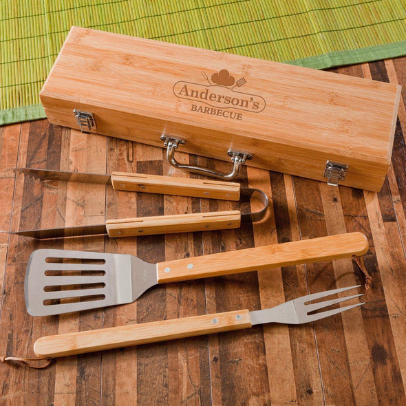 Personalized Grill Set - BBQ Set - Bamboo Case - 6 Designs - Chef - JDS