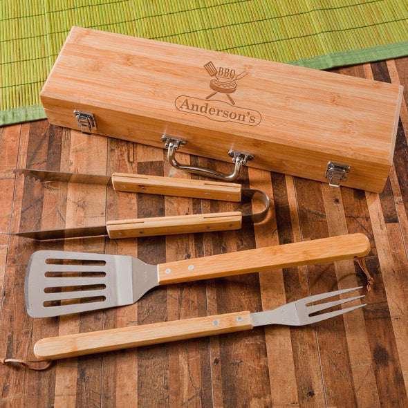 Personalized Grill Set - BBQ Set - Bamboo Case - 6 Designs - Steak - JDS