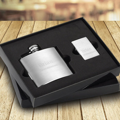 Personalized 4 oz. Brushed Flask and Lighter Gift Set -  - JDS