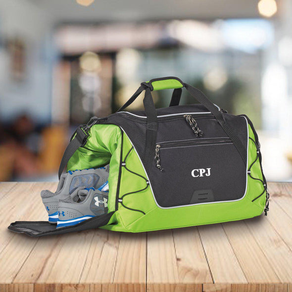 Personalized Duffle and Gym Bag - Weekend Bag - Green - JDS