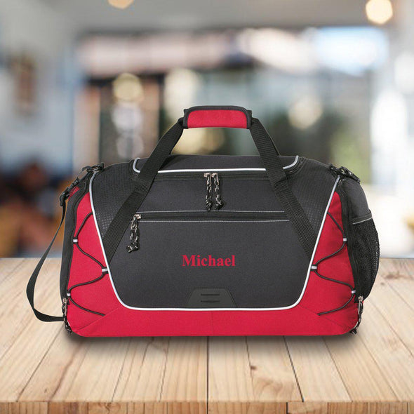 Personalized Duffle and Gym Bag - Weekend Bag - Red - JDS