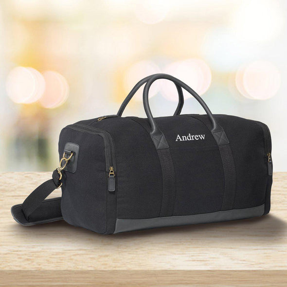 Personalized Heavy Canvas Weekender Duffle Bags - Black - JDS