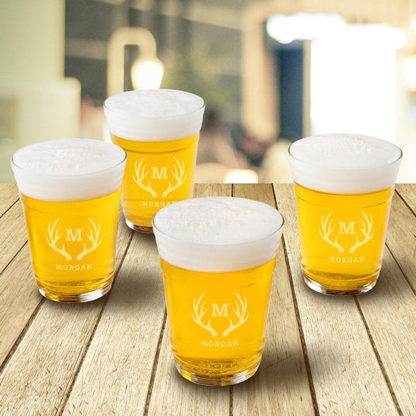Monogrammed Beer Cup Glasses - Set of 4 - Antlers - JDS
