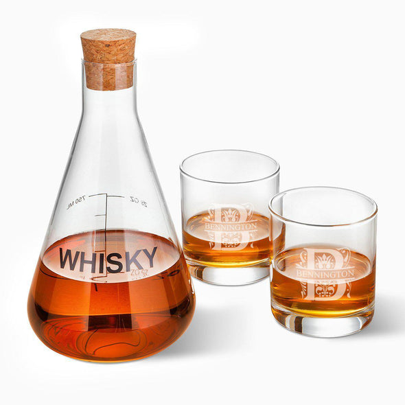 Personalized Whiskey Decanter in Wood Crate with set of 2 Lowball Glasses - Filigree - JDS