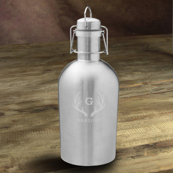 Personalized Insulated Stainless Steel Beer Growler - Antlers - JDS