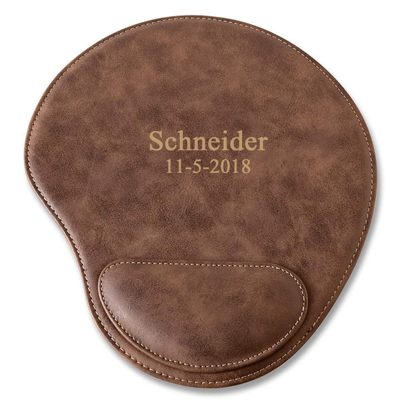 Rustic Vegan Leather Personalized Mouse Pad - 2Lines - JDS