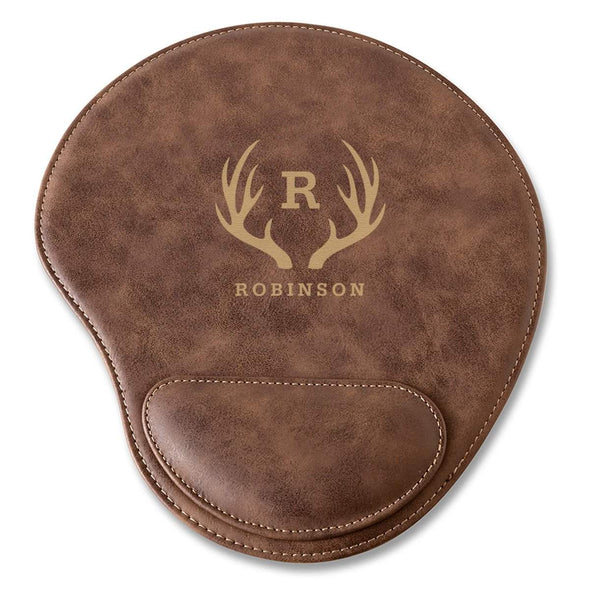 Rustic Vegan Leather Personalized Mouse Pad - Antler - JDS