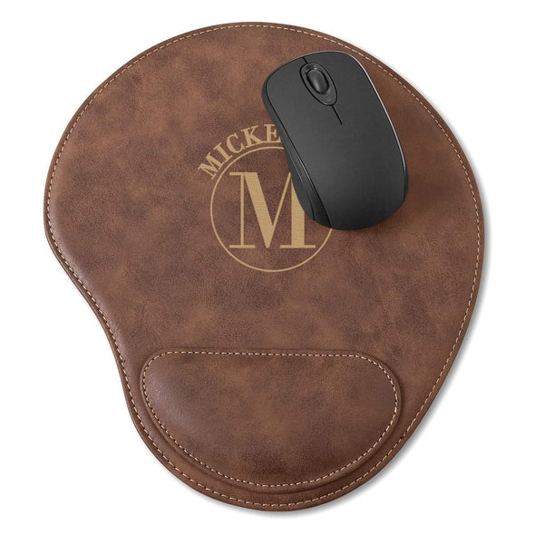 Rustic Vegan Leather Personalized Mouse Pad - Circle - JDS