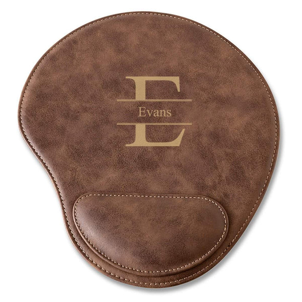 Rustic Vegan Leather Personalized Mouse Pad - Stamped - JDS