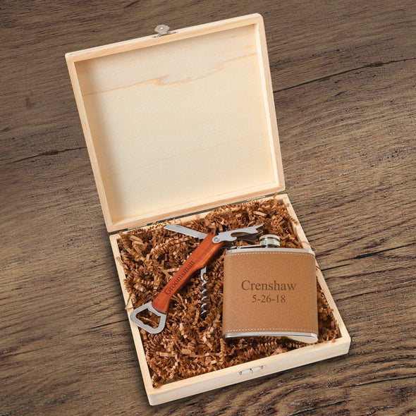 Personalized Kelso Groomsmen Flask Gift Box Set - 2 Lines - JDS