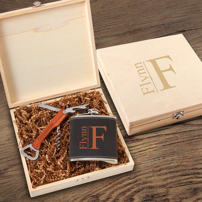 Personalized Dunbar Groomsmen Flask Gift Box Set - Modern - JDS
