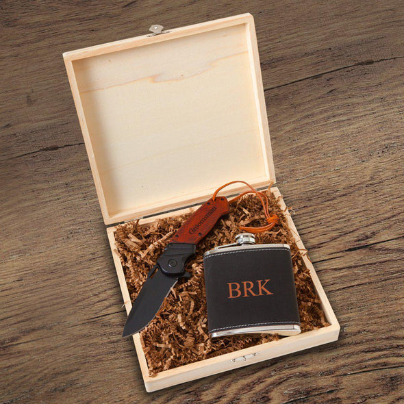 Personalized Stirling Groomsmen Flask Gift Box Set - 3 Initials - JDS