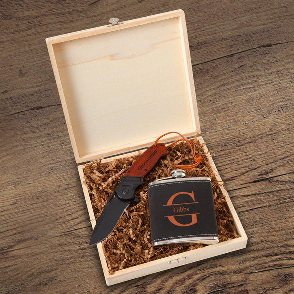 Personalized Stirling Groomsmen Flask Gift Box Set - Stamped - JDS
