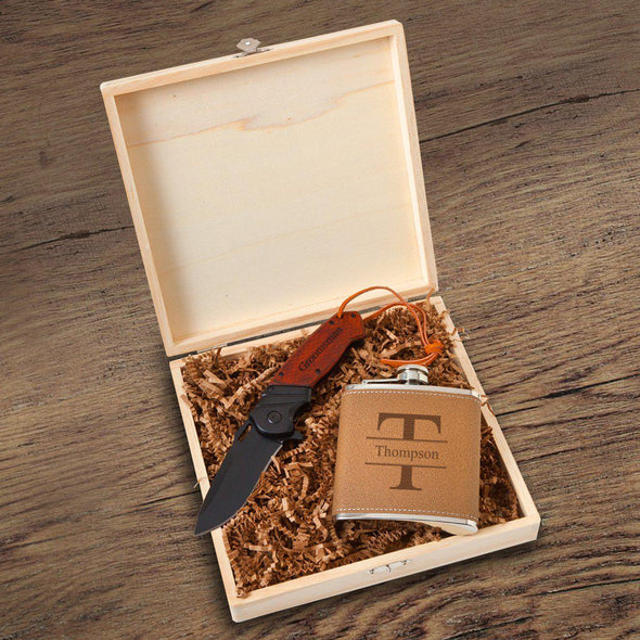 Personalized Perth Groomsmen Flask Gift Box Set - Flask and Knife Set - Stamped - JDS