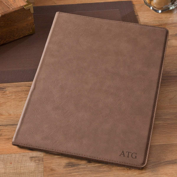 Personalized Mocha Portfolio with Notepad - Blind - JDS