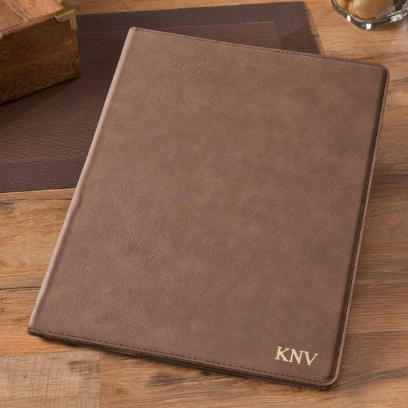 Personalized Mocha Portfolio with Notepad - Gold - JDS