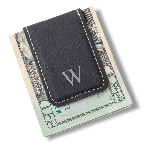 Men's Magnetic Money Clip - Single Initial - Black - JDS