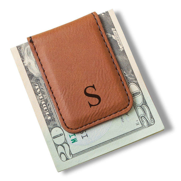 Men's Magnetic Money Clip - Single Initial - Rawhide - JDS