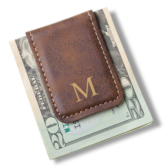 Men's Magnetic Money Clip - Single Initial - LightBrown - JDS