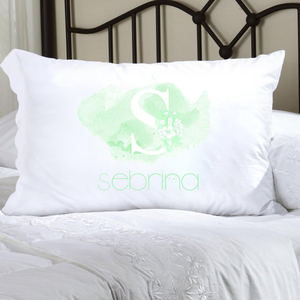 Personalized Kids Watercolor Pillowcase - Green - JDS