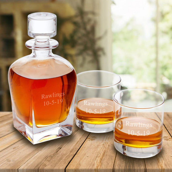 Personalized Antique 24 oz. Whiskey Decanter Gift Set - Stopper & 2 Lowball Glasses - 2Lines - JDS