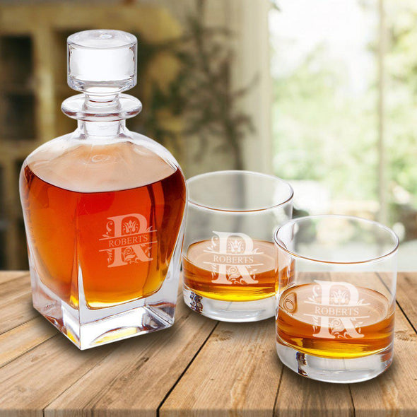 Personalized Antique 24 oz. Whiskey Decanter Gift Set - Stopper & 2 Lowball Glasses - Modern - JDS