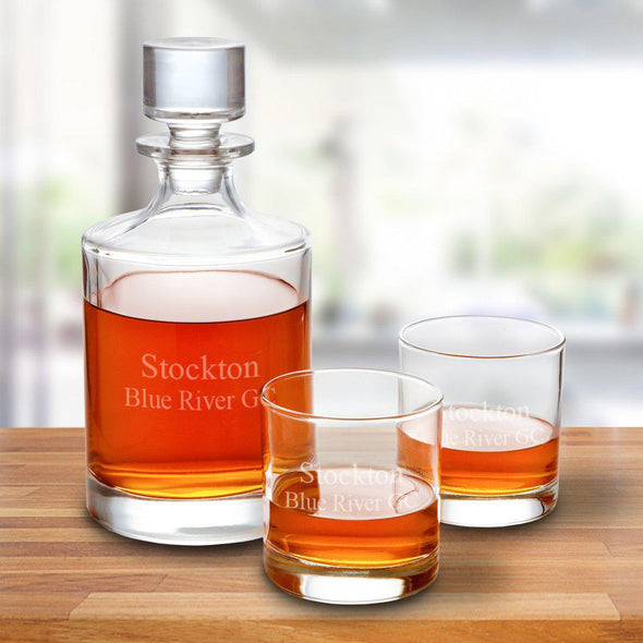 Kingsport 30 oz. Personalized Decanter Set with 2 Whiskey Glasses - 2Lines - JDS