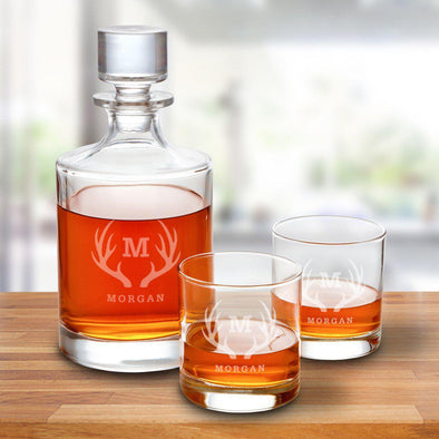 Kingsport 30 oz. Personalized Decanter Set with 2 Whiskey Glasses - Antlers - JDS