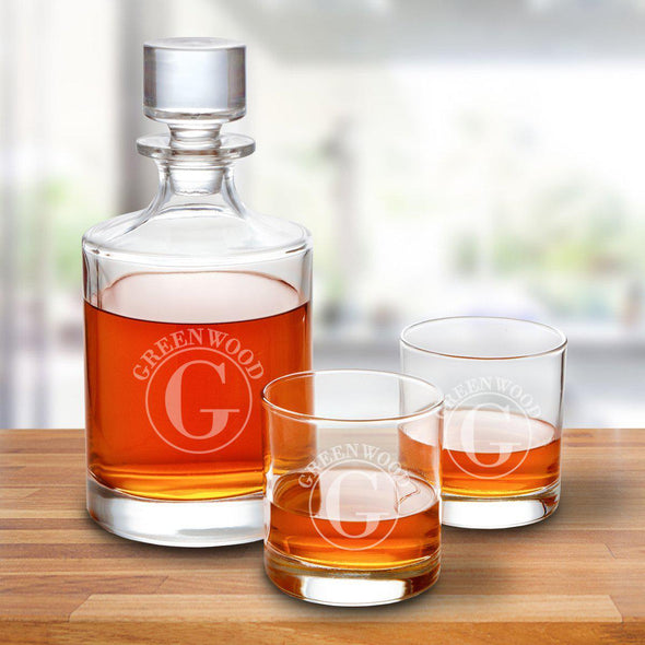 Kingsport 30 oz. Personalized Decanter Set with 2 Whiskey Glasses - Circle - JDS