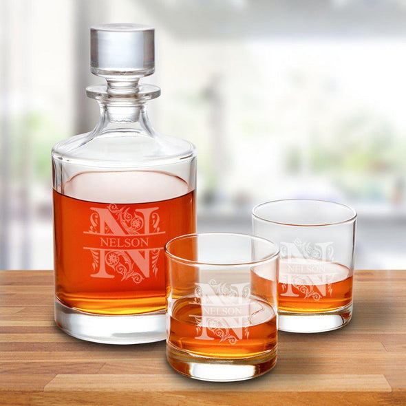 Kingsport 30 oz. Personalized Decanter Set with 2 Whiskey Glasses - Filigree - JDS