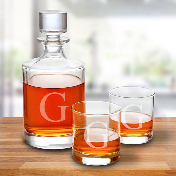 Kingsport 30 oz. Personalized Decanter Set with 2 Whiskey Glasses -  - JDS