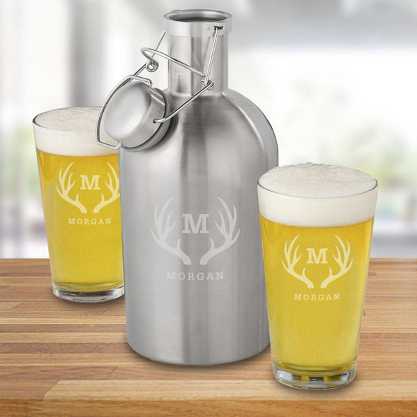 65 oz. Stainless Steel Personalized Growler Set with 2 Pub Glasses - Antlers - JDS